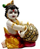 Amazing India Hand Carved Baby Krishna Resin Idol Sculpture Statue Size 7 Inches - Black And Golden