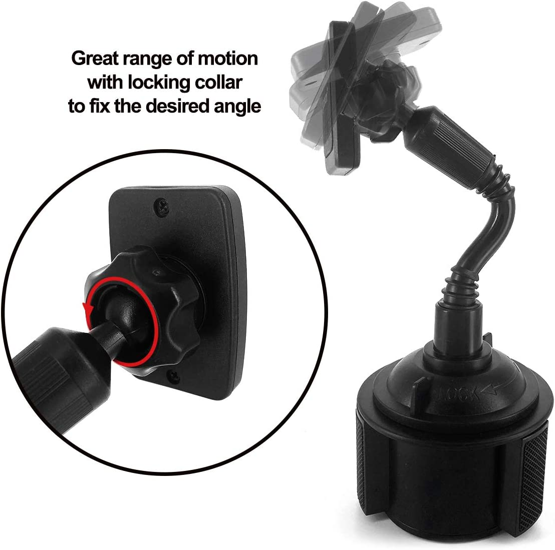 8 S20 and Many More Smartphones Xr 11 SE 2 Samsung Note 10 Acuvar Magnetic Cup Holder Flexible Car Mount with 2 Adhesive Steel Plates for iPhone 11 Pro Max S10+ 8+ 11 Pro 7 7 Plus Xs Max