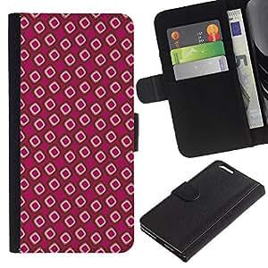 KingStore / Leather Etui en cuir / Apple Iphone 6 PLUS 5.5 / Papel pintado Random Pink Dots
