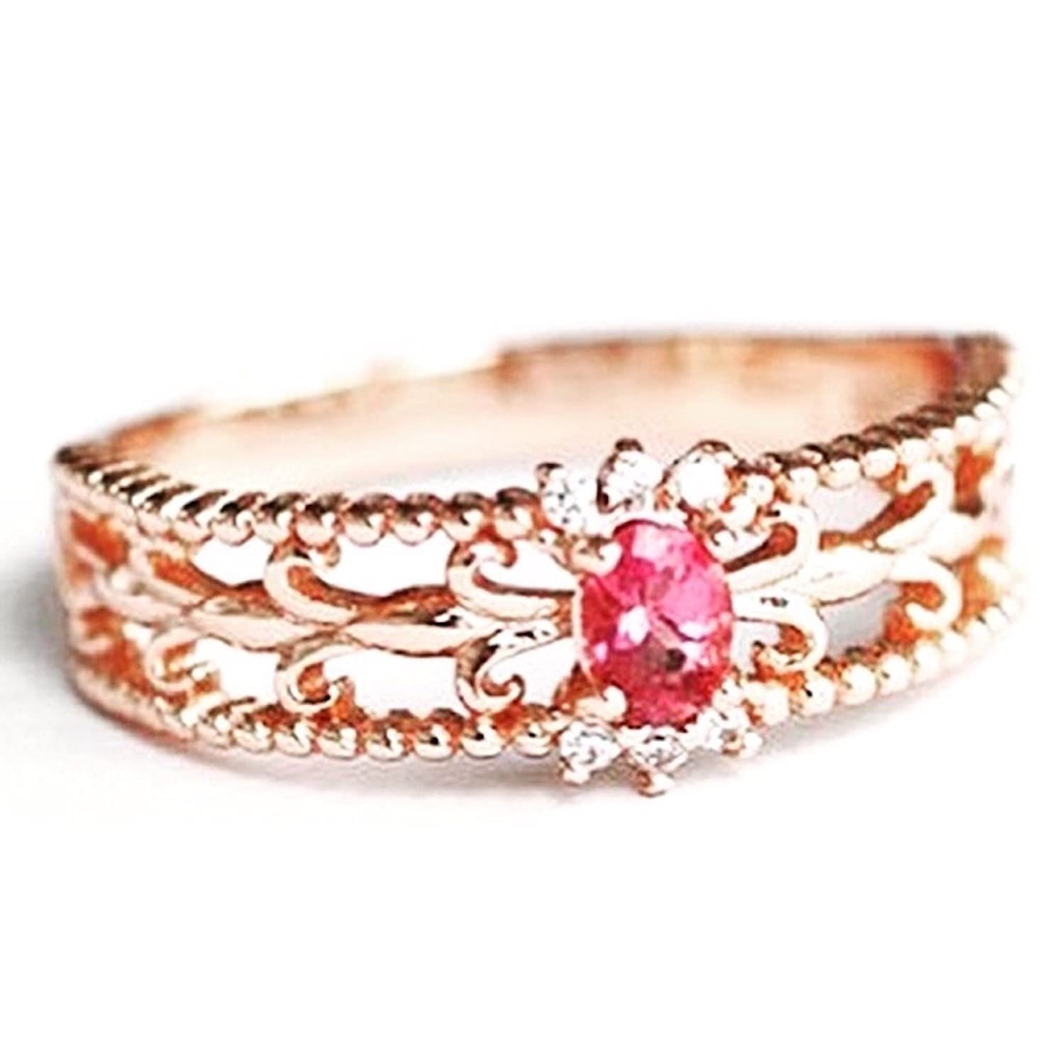 14K Elegant Ruby Red Crystal Ring for Women - Rose Gold / White Gold Plated (Size 4-8)