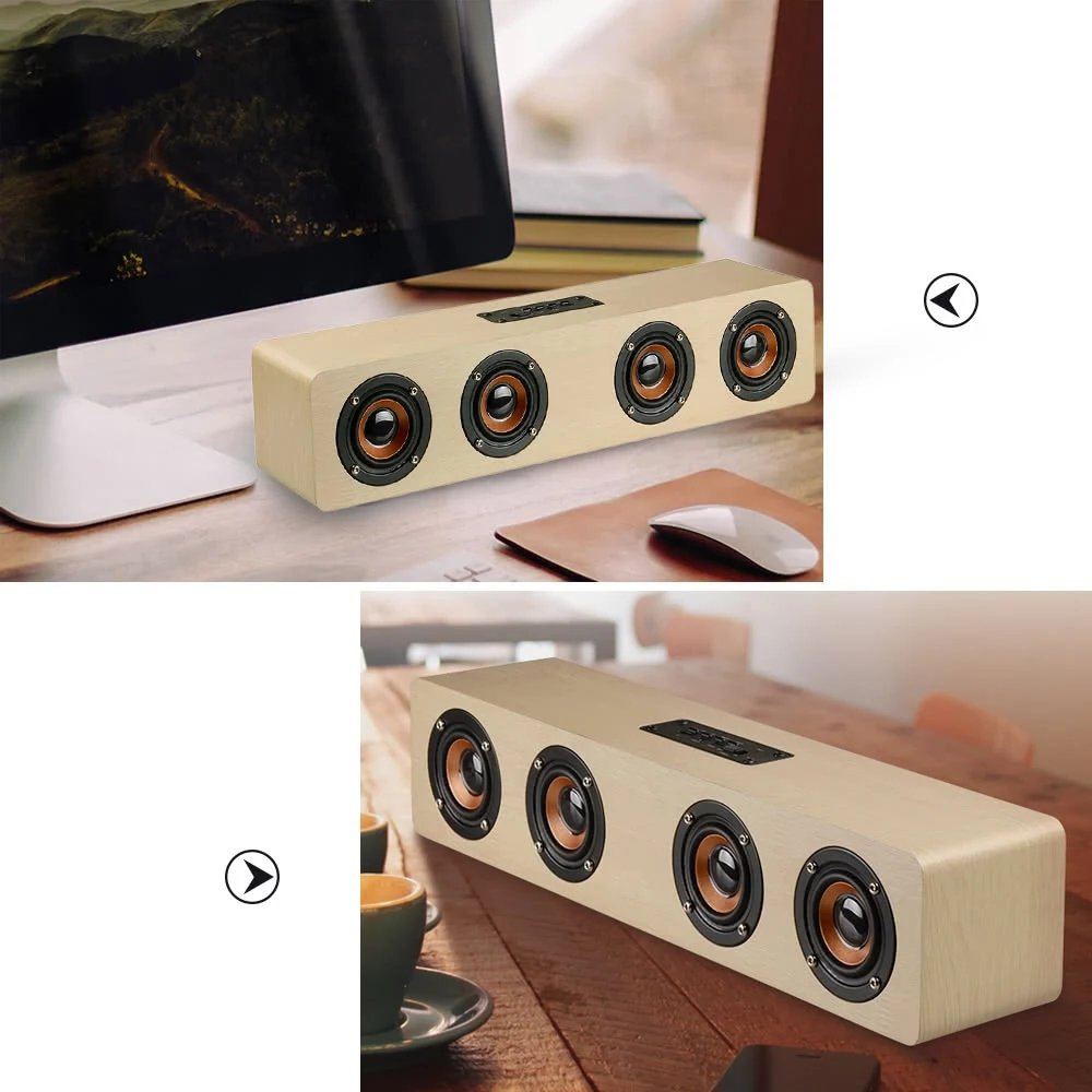 3D Wireless Bluetooth Subwoofer Wood Speaker, elcfan Portable Stereo Sound Bar for Desktop, Laptop,PC, TV, Home Theater - Light Brown by elecfan (Image #3)
