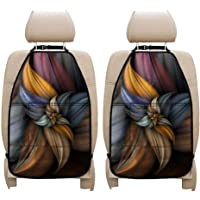 UZZUHI Abstract 3D Flower Car Kick Mats Back Seat Organizer with Clear Screen Phone Pocket, 3 Pocket Storage Car Seat…