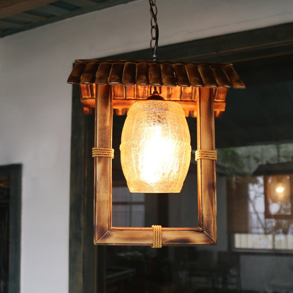 HJQ Amerikanischer Bambus Kunst Kronleuchter Cafe Restaurant Restaurant Glas Bambus Kronleuchter, 34  40cm