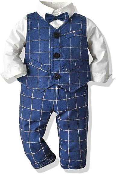 Tem Doger Camisa de Vestir Informal con Botones a Cuadros, Ajustada, Chaleco y pantalón