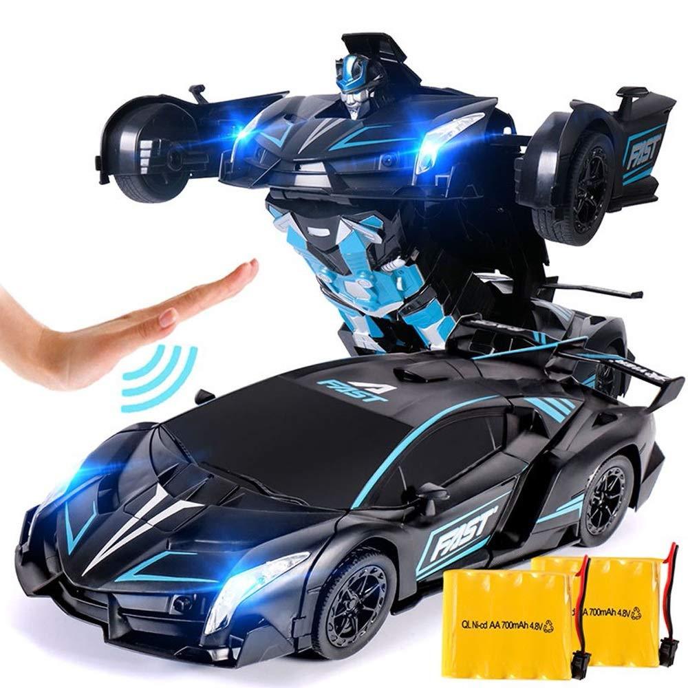 Ycco Aire Control remoto Coche para niños con luces de trabajo, juguetes Transformers Robot RC Modos dobles rojoación 360 ° Stunt Cars Función de escalada de parojo Vehículo eléctrico Niños Niñas Niños