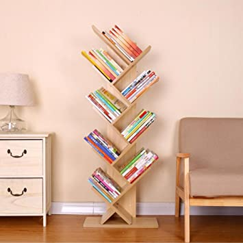 RioRand Wooden Tree Bookcase Students Bookshelf Storage Shelf 9 Tiers Natural Wood Color