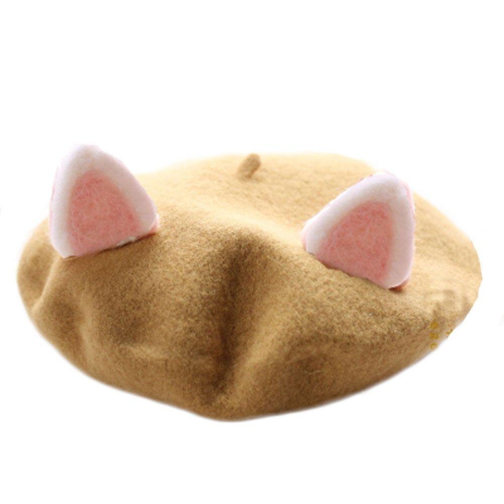 Womens Cute Lolita Cat Beret Cap Painter Hat Sweet Students