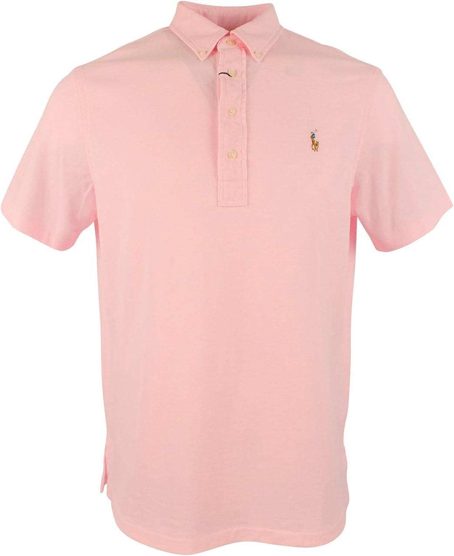 Polo Ralph Lauren Men/'s Multicolored Pony Short Sleeve Oxford Shirt GREY PINK