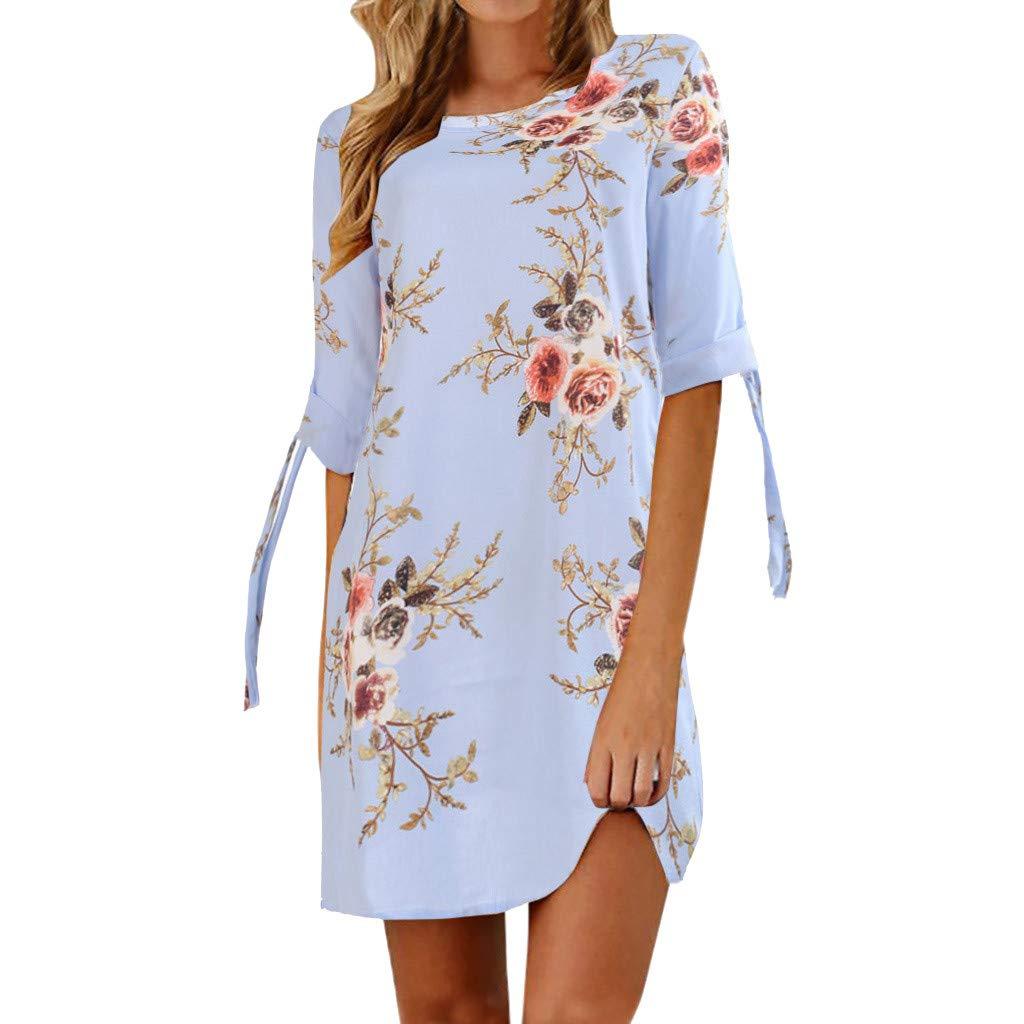 Womens T Shirt Dresses Floral Print Bowknot Short Sleeve Cocktail Mini Skirts Casual Party Dress (XL, Light Blue)