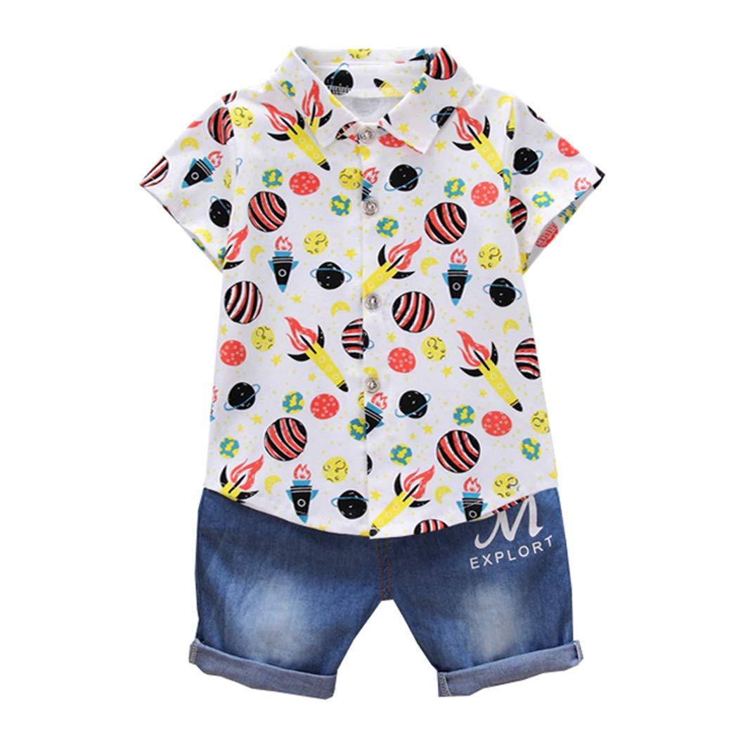 ALLAIBB Ragazzino/Pantaloni Estivi Casual Tee Shirt Pantaloni Corti 2 Pezzi 1-3Anni
