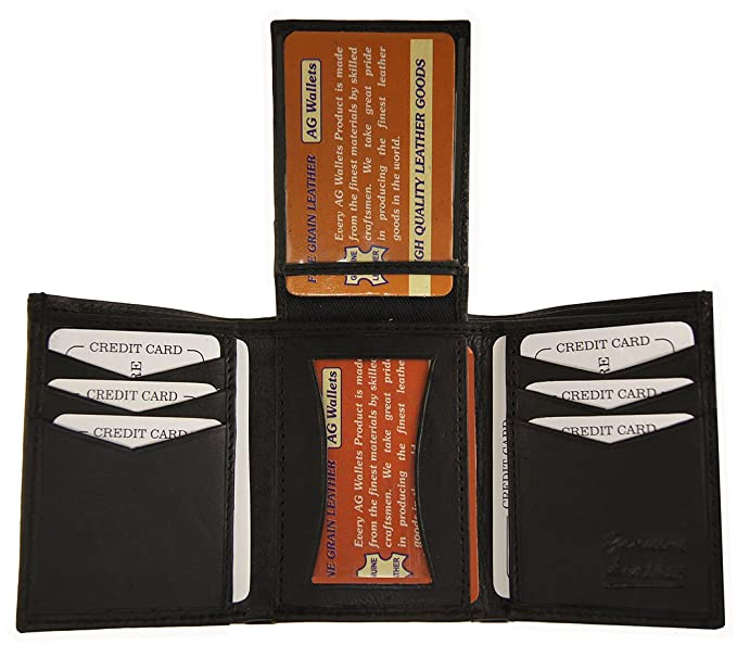 ag wallets men s genuine leather center flipup 2 id windows tri fold