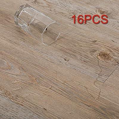 CO-Z 16 PCS Odorless Vinyl Floor Planks Adhesive Floor Tiles 2.0mm Thick, Environmental-Friendly