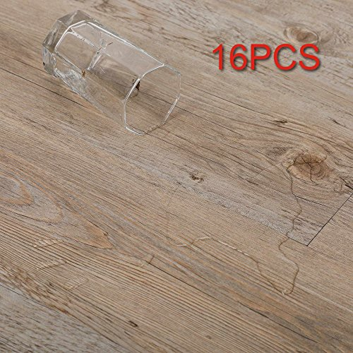 CO-Z 16 PCS 24 Square Feet, Vinyl Floor Planks Adhesive Floor Tiles, 2.0mm Thick (Ash - 24 sq ft - 1 Pack) (Best Way To Lay 12x24 Tile)