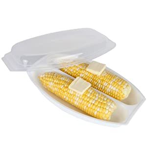 Home-X - Microwave Corn Steamer with Lid, Airtight Lid Steams For Delicious and Perfectly Cooked Corn on the Cob in Minutes