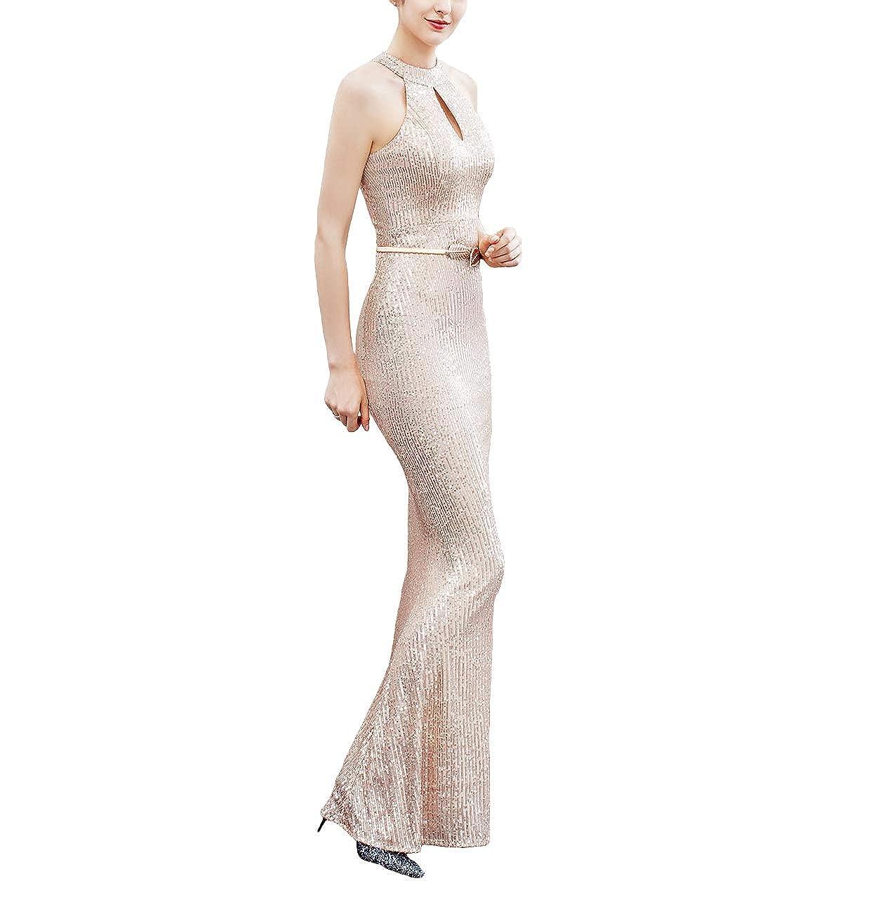 Chowsir Women Elegant Halter Fishtail Slim Cocktail Party Evening Bridesmaid Long Dress
