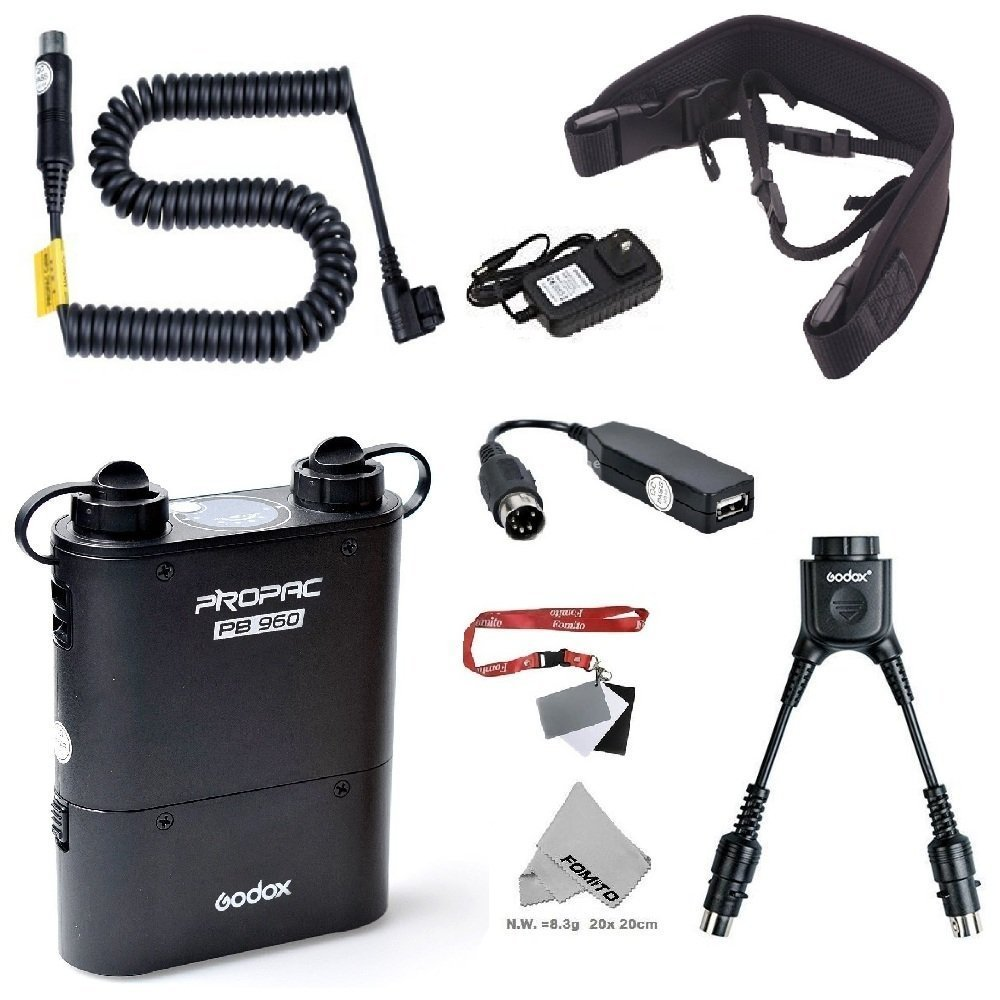 Fomito Godox PB960 Portable Extended Flash Power Battery Pack Kit Dual Output for Nikon SB910, SB900, SB800, SB28 EURO, SB28DX, SB80DX,for AD600 AD360II AD360 AD180, for Mobile phone Black by Fomito
