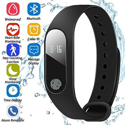 Pulsera Inteligente Running Sport Fitness Watch,podómetro,Monitor de sueño,Panel táctil OLED Heart Rate Monitor,Contador de calorías,Reloj ...