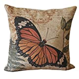 Guoqueen Black And Orange Butterfly Print Throw Pillow Covers 45Cmx45Cm Outdoor Cushions Linen Decorative Pillow Covers