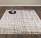 "Diagona Designs Contemporary Abstract Stripes Design Modern 8' by 10' Area Rug, 94"" W x 118"" L, Gray / Ivory"