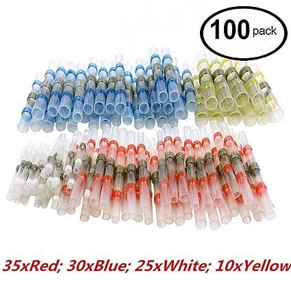 100pcs Solder Sleeve Heat Shrink Butt Waterproof 26 10 Awg Wire Splice Connector By Ikevan