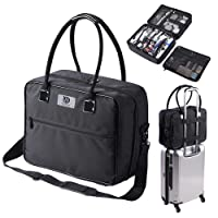 Byootique Soft Sided Makeup Train Case 2 Layer for Cosmetic Tote Artist Organizer Storage Carry on Travel Bag with Removable Strap