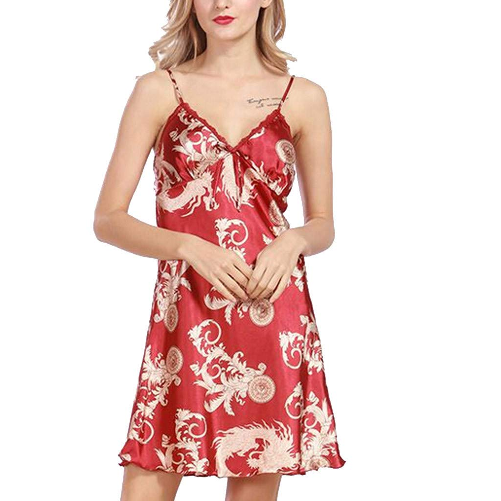 2019 Women Fashion Summer Sleepwear Sleeveless Printed Nightwear Satin Lingerie Underwear Party Dresses (Red, L)