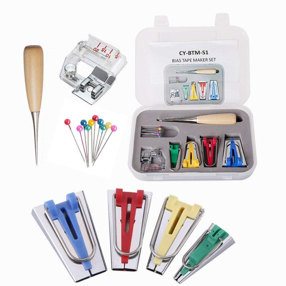 YEQIN 16 Pcs Fabric Bias Tape Maker Kit for Sewing