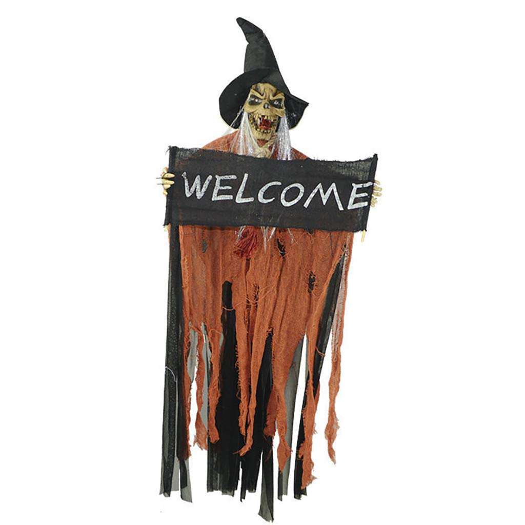 Nightmare Before Christmas,Gunel Scary Horror Haunted House Light Costume Skull Witch Dress Up Props,Halloween Party Decorations (Orange) by Gunel home