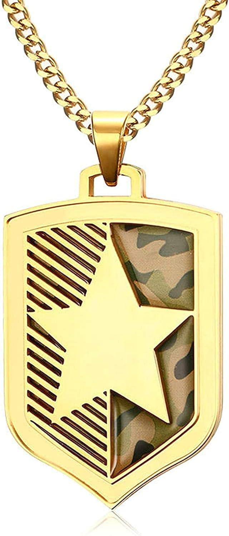 LOPEZ KENT Jewelry Men Stainless Steel Necklace Individual Pendants Nonstandard-Shape Gold 4.7CM
