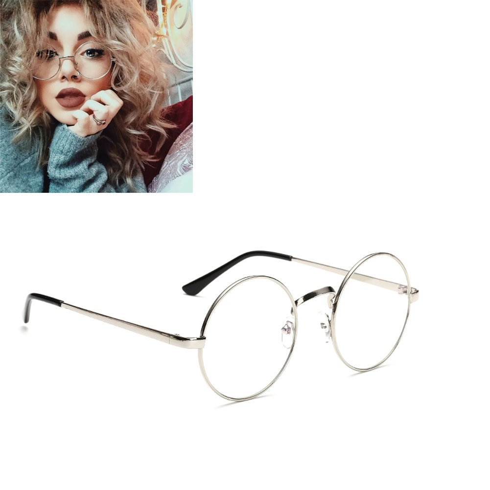 05b1a08c46 Unisex Round Glasses Metal Frame Summer Retro Clear Lens Vintage Geek  Oversized Eyelasses  Amazon.co.uk  Kitchen   Home