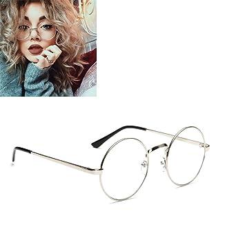 7afbac483a Unisex Round Glasses Metal Frame Summer Retro Clear Lens Vintage Geek  Oversized Eyelasses