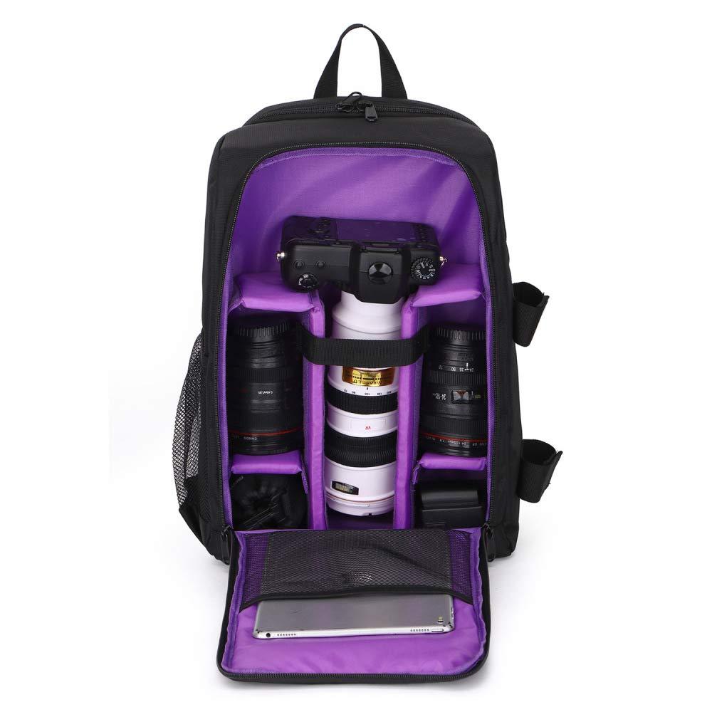 Camera Bag Digital Bag Waterproof Shockproof Breathable Camera Backpack Bag Backpack Laptop Bag Purple 43CmX15.5CmX30Cm by M.T.E