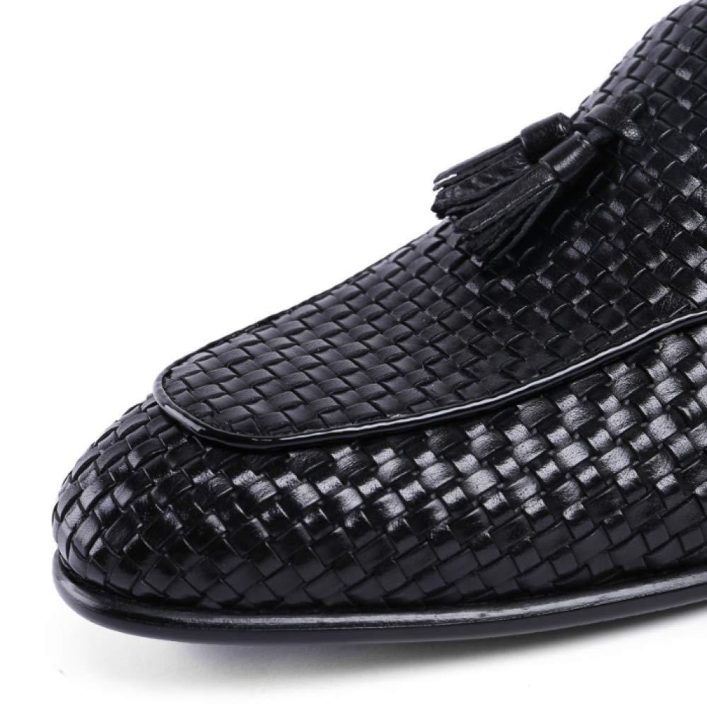 Männer Lederschuhe Bequeme Casual Faule Schuhe Breathable Bequeme Lederschuhe Geschnitzte Rubber schwarz 8f1d9e