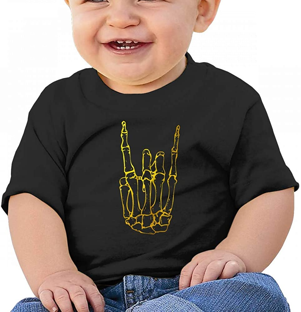 Cool Skeleton Rock Hand Skull Baby Boys Toddler Short Sleeve T-Shirts Tees