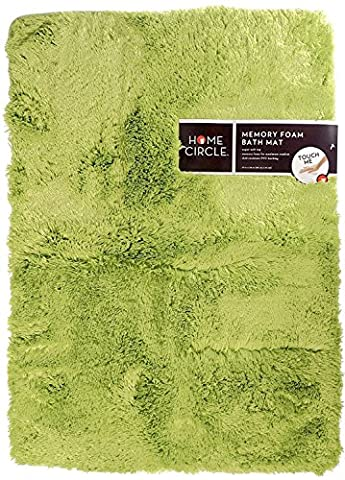Home Circle Soft Top Memory Foam Bath Mat, 17 x 24 Inch (Guacamole) - Soft Foam Top