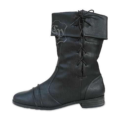 Botas de estilo medieval, color negro, color negro, talla 38 EU
