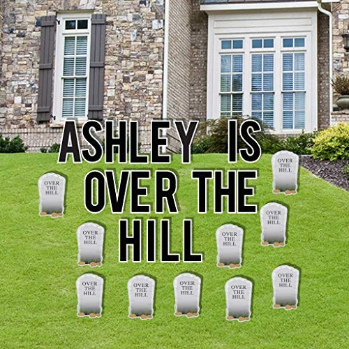 VictoryStore Yard Decorations: Custom Over The Hill Yard Letters With Gravestones Includes 46 stakes Plus Stakes for Custom Name ()