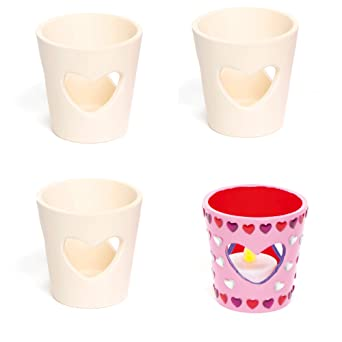 Baker Ross Mini Heart Tealight Holders Ready To Paint Ceramics For Kids To Decorate And Display Box Of 4 Ef371 Amazon Co Uk Business Industry Science