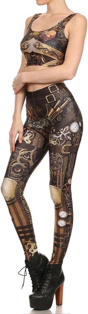 TALLA S. Easy Go Shopping diseño de Mujer Leggings 3D Cadena Impresa Totem máquina Sexy Misterioso Leggins Yoga pantalón Legging para Mujer Deporte Fitness Leggings Traje