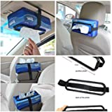 Car tissue paper box holder Auto rear seat headrest support Hold Clip Sun Visor Tissue Box Holder,Car Mount Organizer (Black)