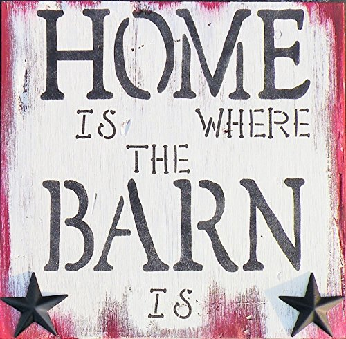 Home Is Where The Barn Is Hand Painted Rustic Pine Wood Sign, (Country Life Black Walnut)