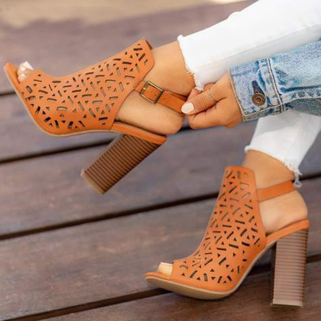 Memela Clearance sale Women Sandals High Heel Shoes Peep Toe Ankle Booties Buckle Hollow Casual Shoes Sandals