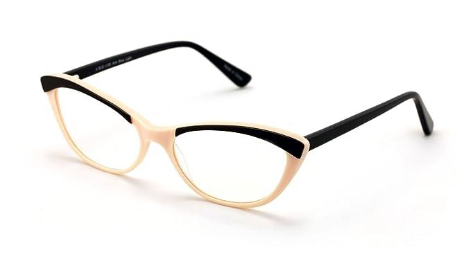 f87a28fc59e Women Cateye Slim Vintage Fashion Acetate Non-prescription Glasses Frame  Clear Lens Eyeglasses (Beige