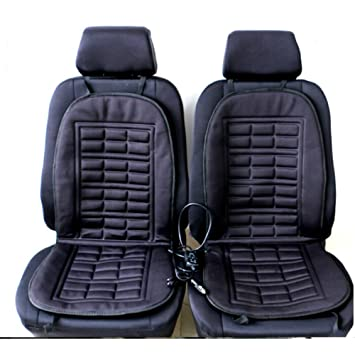 2pcs Car Seat Heating Pad Heated Cushion Hot Cover Warmer Winter Black