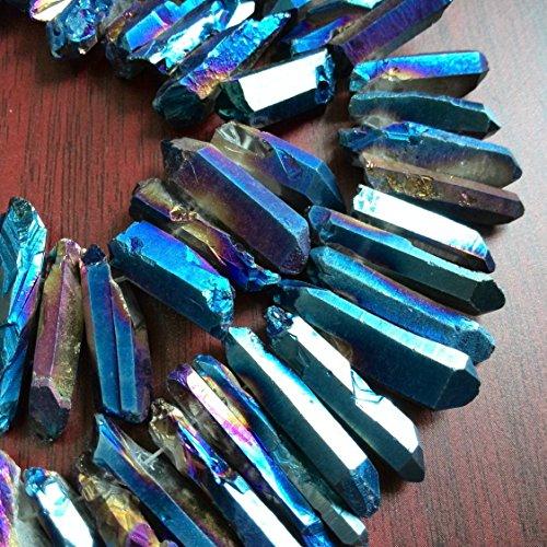 Rough Titanium Crystal Points, Quartz Sticks, Spikes, Blue Rainbow Metalic Quartz Beads, Crystal Daggers, Quartz Spike Beads 15 inches Strand