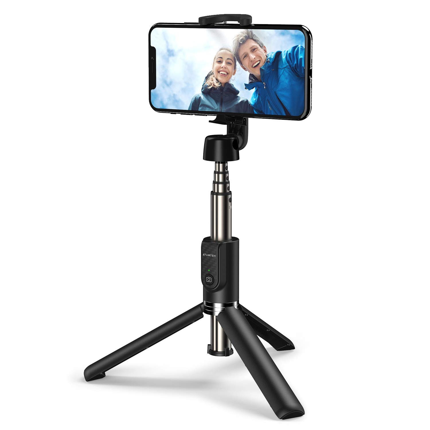 ATUMTEK Bluetooth Selfie Stick Tripod, Mini Extendable Selfie Stick with Wireless Bluetooth Remote for iPhone Xs Max/XR/XS/X, iPhone 8/8 Plus, Samsung Galaxy S10/S9, Note 10/9, Huawei and More by ATUMTEK