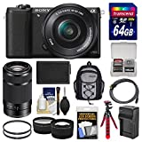 Sony Alpha A5100 Wi-Fi Digital Camera & 16-50mm (Black) with 55-210mm Lens + 64GB Card + Backpack + Battery/Charger + Tripod + Tele/Wide Lens Kit