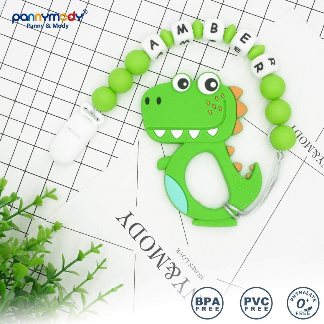 Grigio Catenella Portaciuccio con Nome Personalizzata Dinosauro Cartoon Massaggiagengive Porta ciuccio BPA Gratuito Baby Shower Regali
