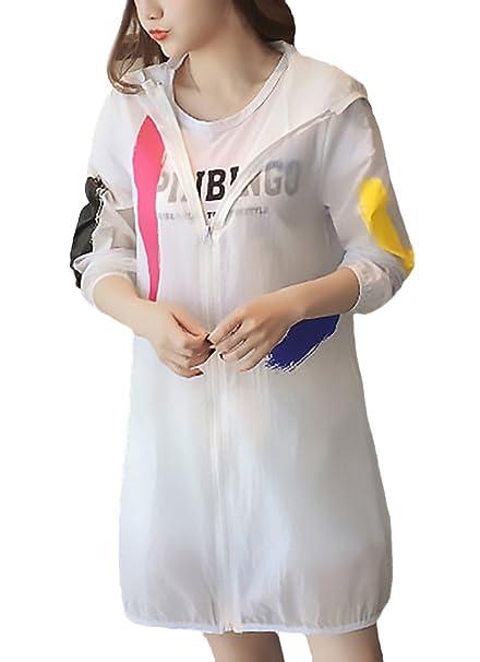 Abrigo De Verano Estilo Coreano Elegantes Moda Joven Encapuchado Manga Larga Estampadas Flor Camisas Abrigo Protección UV con Cremallera Casual Anchos ...