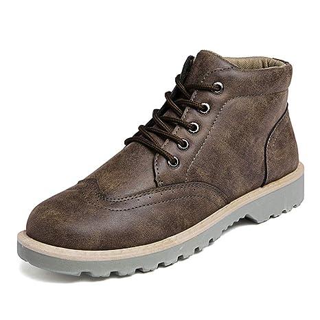 YAN Los Zapatos De Los Hombres Caen Útiles Zapatos Botines De Alta Top Encaje Martin Botas